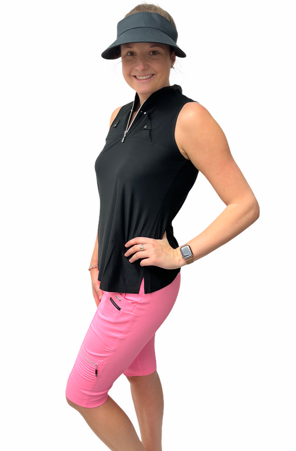 Jamie Sadock Mimosa Collection: Women's Sleeveless Polo Shirt-Black