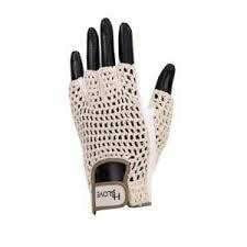 HJ Women's Cotton Mesh Half Glove-Tan