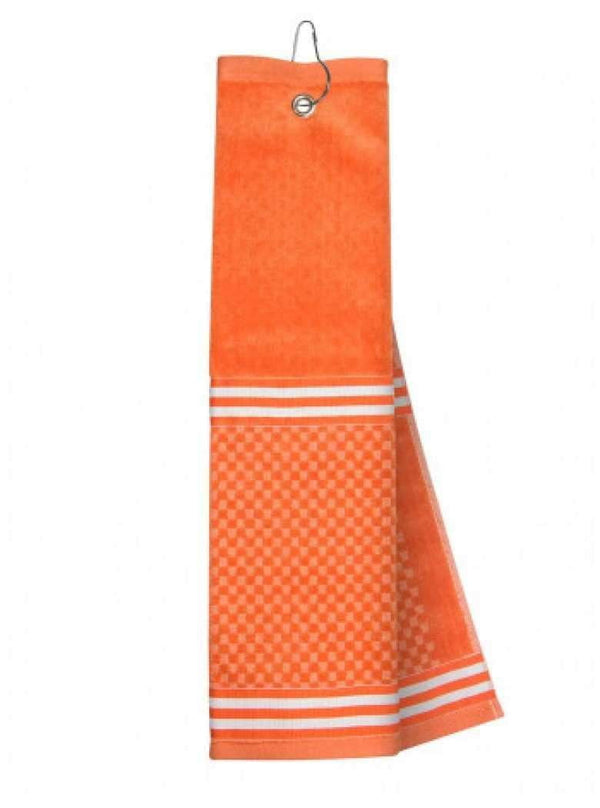 Just4Golf Ribbon Trim Insert Golf Towel-Orange/white | Just4Golf