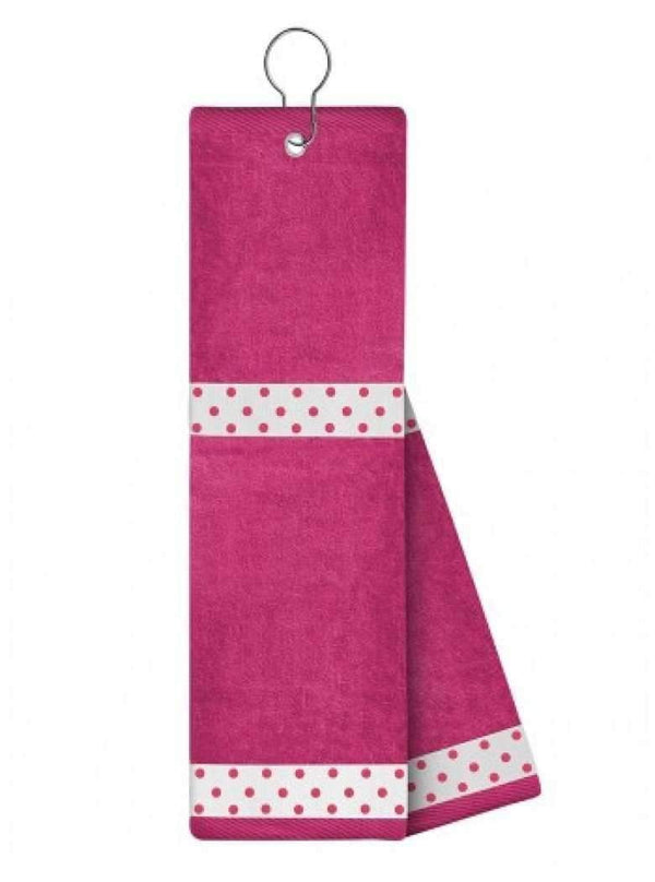 Golf Towels - Just4Golf - Just4Golf Ribbon Trimmed Towel-Pink - the-ladies-pro-shop-2