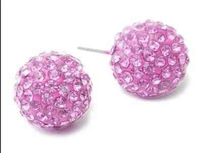 Navika Crystal Encrusted Pink Golf Ball Stud Pierced Earrings - the-ladies-pro-shop-2