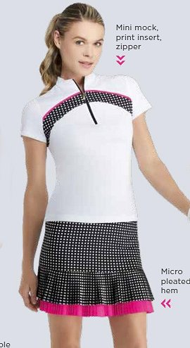 Tail Activewear White with Plaid Insert Short Sleeve Shirt