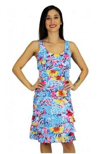 Tango Mango Women's Sleeveless Floral Abstract Printed Ruffle Dress