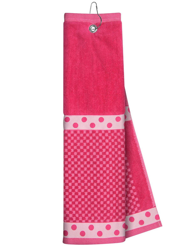 Just4Golf Ribbon Trimmed Towel-Pink