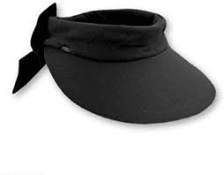 Dorfman Visor- Velcro Large Brim Visor with Bow-White, Natural, Black