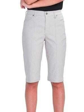 UR Rebel/Simon Chang Micro Twill Tummy Control Knee Stretch Solid Bermuda Shorts
