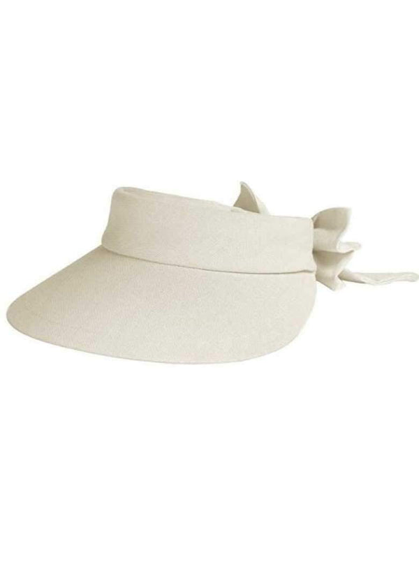 Hats,Dorfman Pacific,Dorfman Visor- Velcro Large Brim Visor with Bow-White, Natural, Black,the-ladies-pro-shop-2,ladiesproshop