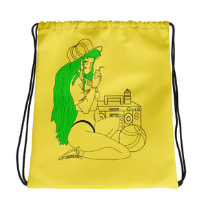The Girl and The Beach Drawstring bag