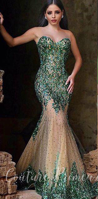 d1388c58f36b ... Green Trumpet/Mermaid Sheer Illusion Sequin Evening Gown. Couture Primea