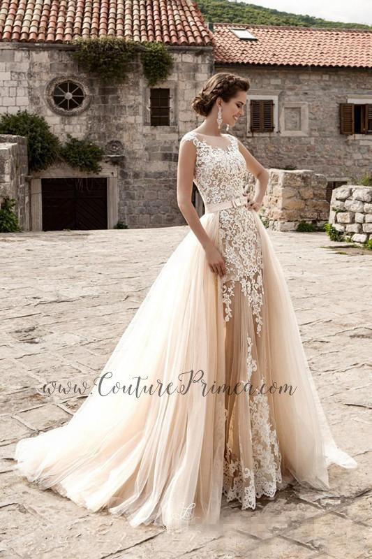 abe1e3398747 Chantilly Wedding Gown with Detachable Train – Couture Primea