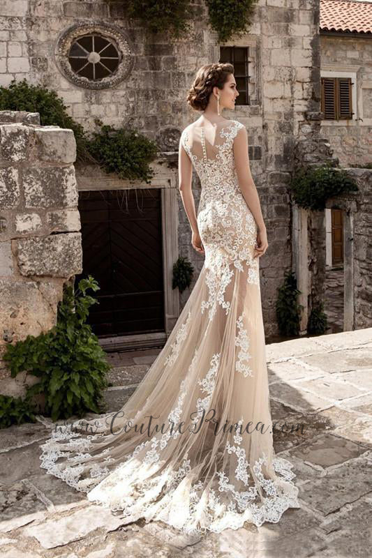 1e597965300c ... Lace Trumpet/Mermaid Wedding Gown/ Detachable Train. Couture Primea