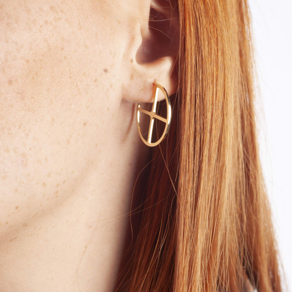 KESİŞEN YOLLAR KÜPE - CROSSROADS EARRINGS - 24 k Gold Plated Silver-2