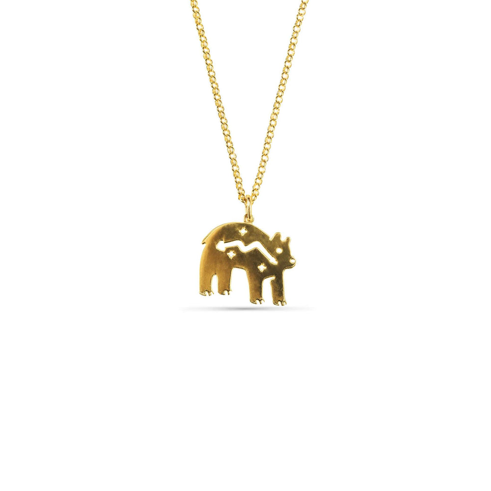 ZUNİ BEAR KOLYE - ZUNİ BEAR NECKLACE - 24 K Gold Plated Silver