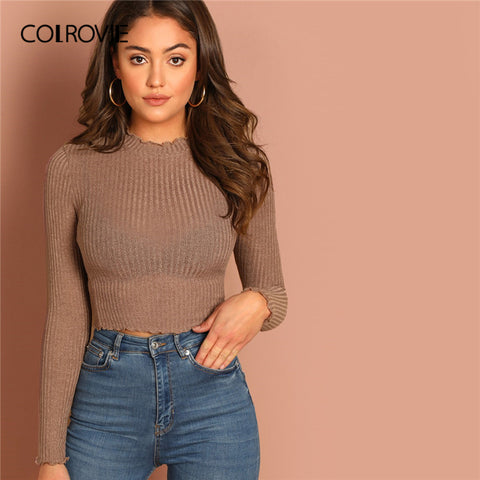 COLROVIE Solid Lettuce Trim Solid Sexy Knit Crop Top