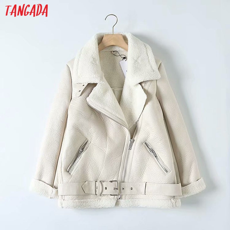 Tangada Women beige fur faux leather jacket coat with belt turn down collar