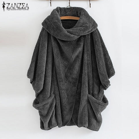 ZANZEA Women Fluffy Oversized Long Sleeve Warm Poncho Top  Jumpers