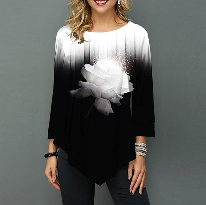 Shirt Women / Printing Blouse 3/4 Sleeve Casual Hem Plus Size