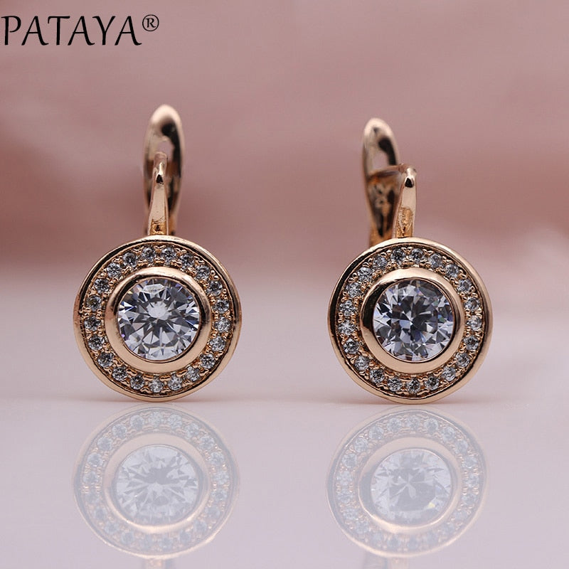 PATAYA New Arrivals 585 Rose Gold Love Carved Natural Zircon Big Dangle Earrings