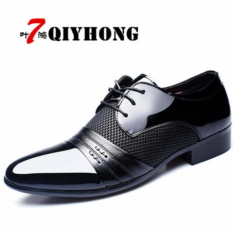QIYHONG Brand Men Dress Shoes Plus Size 38-48 Men Business Flat Shoes Black Brown Breathable Low Top Men Formal Office Shoes
