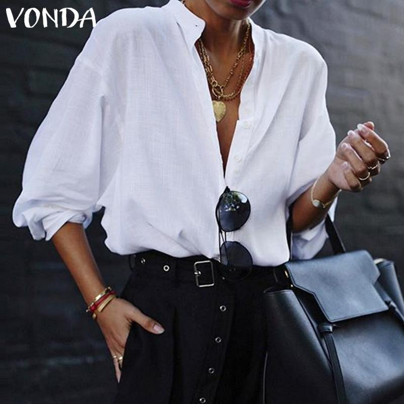 VONDA Fashion Women Blouses Office Lantern Sleeve