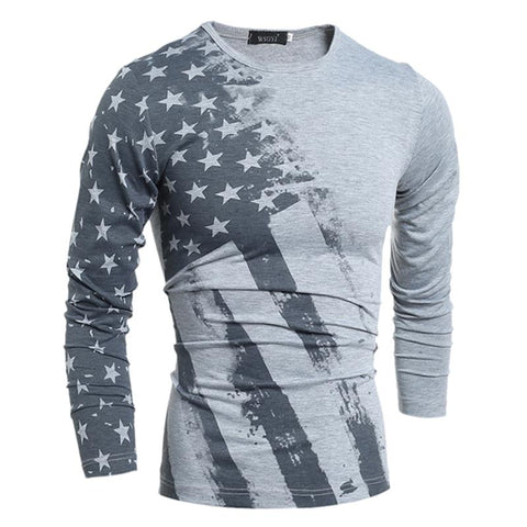 Long Sleeve T Shirt USA American Flag Printed