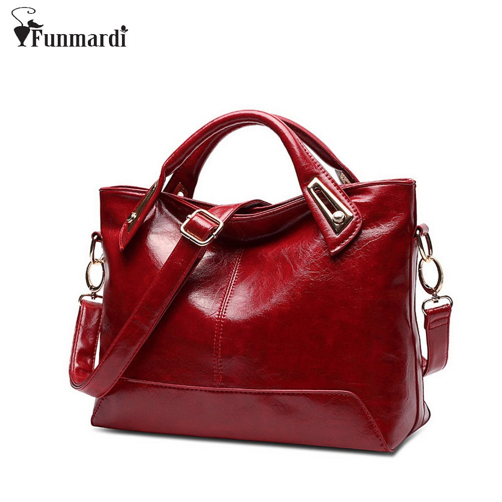 Women Oil Wax Leather Designer Handbags High Quality Shoulder Bags