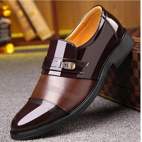 New Brand Men Formal Shoes slip on Pointed Toe Patent Leather