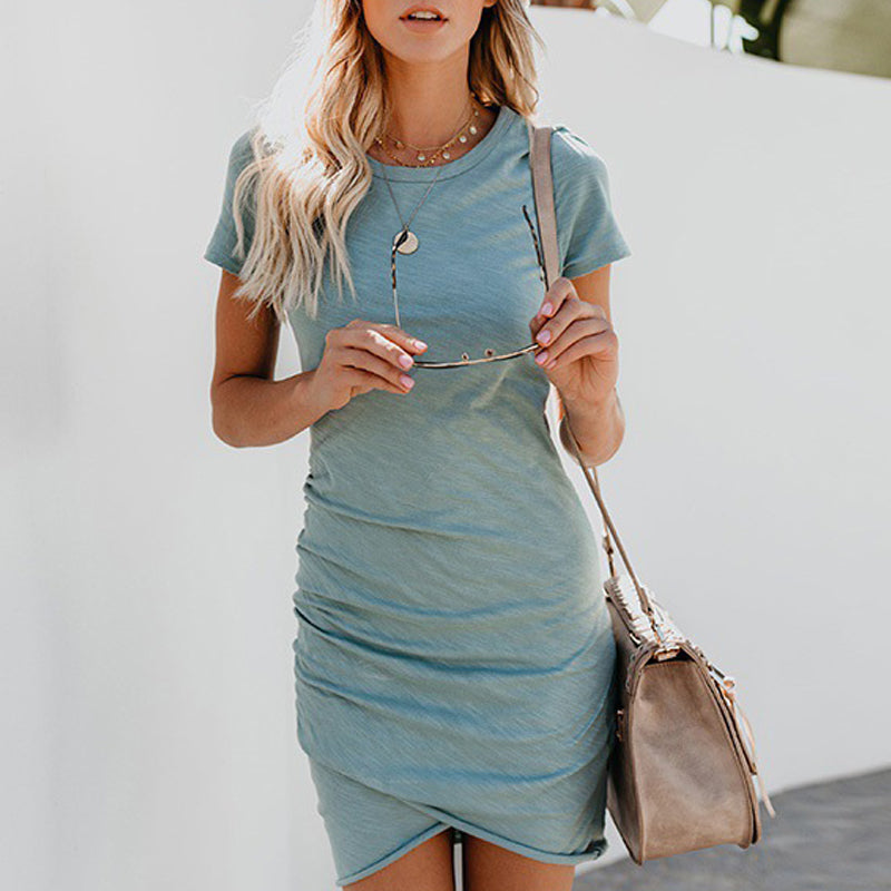 Summer Mini Dress  Short Sleeve Solid Bodycon Slim Party Dress