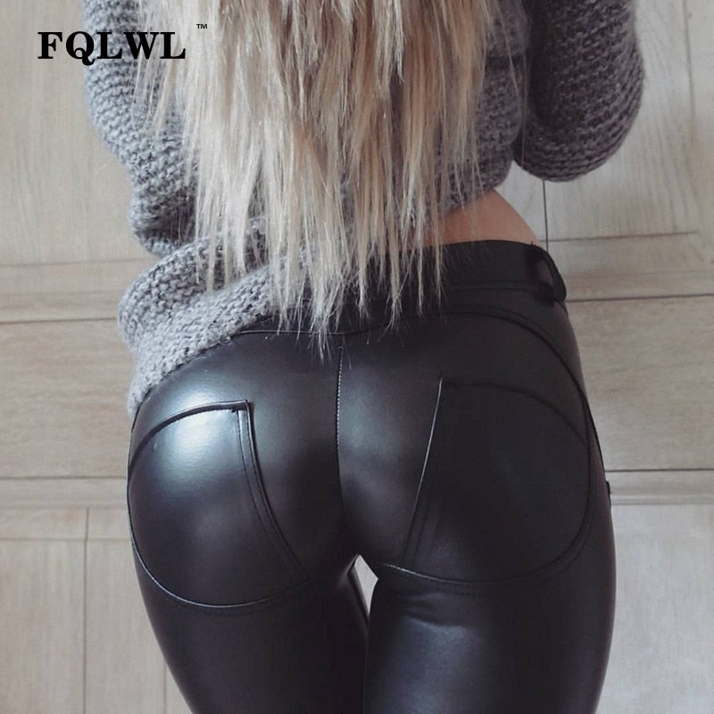 FQLWL Faux Pu Leather Leggings Thick/Black/Push Up/High Waist