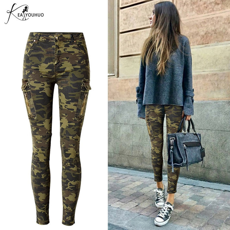 Pencil Plus Size Cargo Jeans Woman High Waist Camouflage