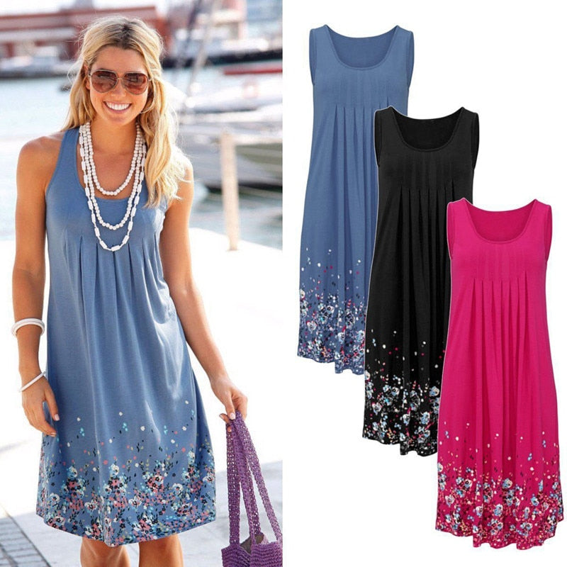 Oufisun Summer Sleeveless Floral Print Loose Dress Fashion Six Colors