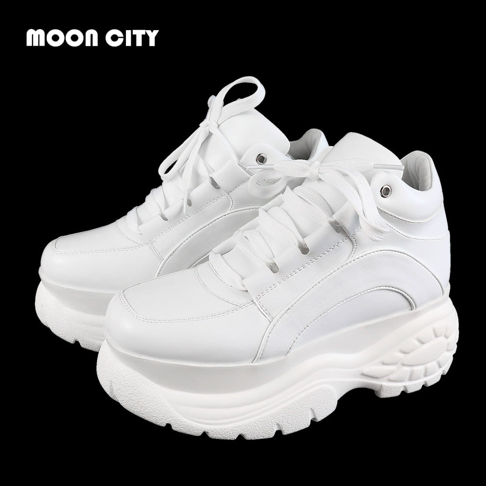 Whiter Platform Sneakers Ladies Brand Chunky Causal Shoes