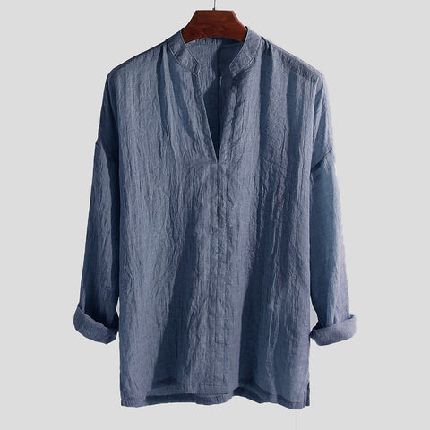 Breathable Men's Shirt Summer Causal Long Sleeve Loose