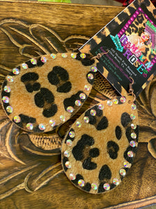 Cheetah Fabric Teardrops (with bling)