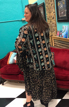 Load image into Gallery viewer, Teal and Cheetah Bell Sleeved Duster