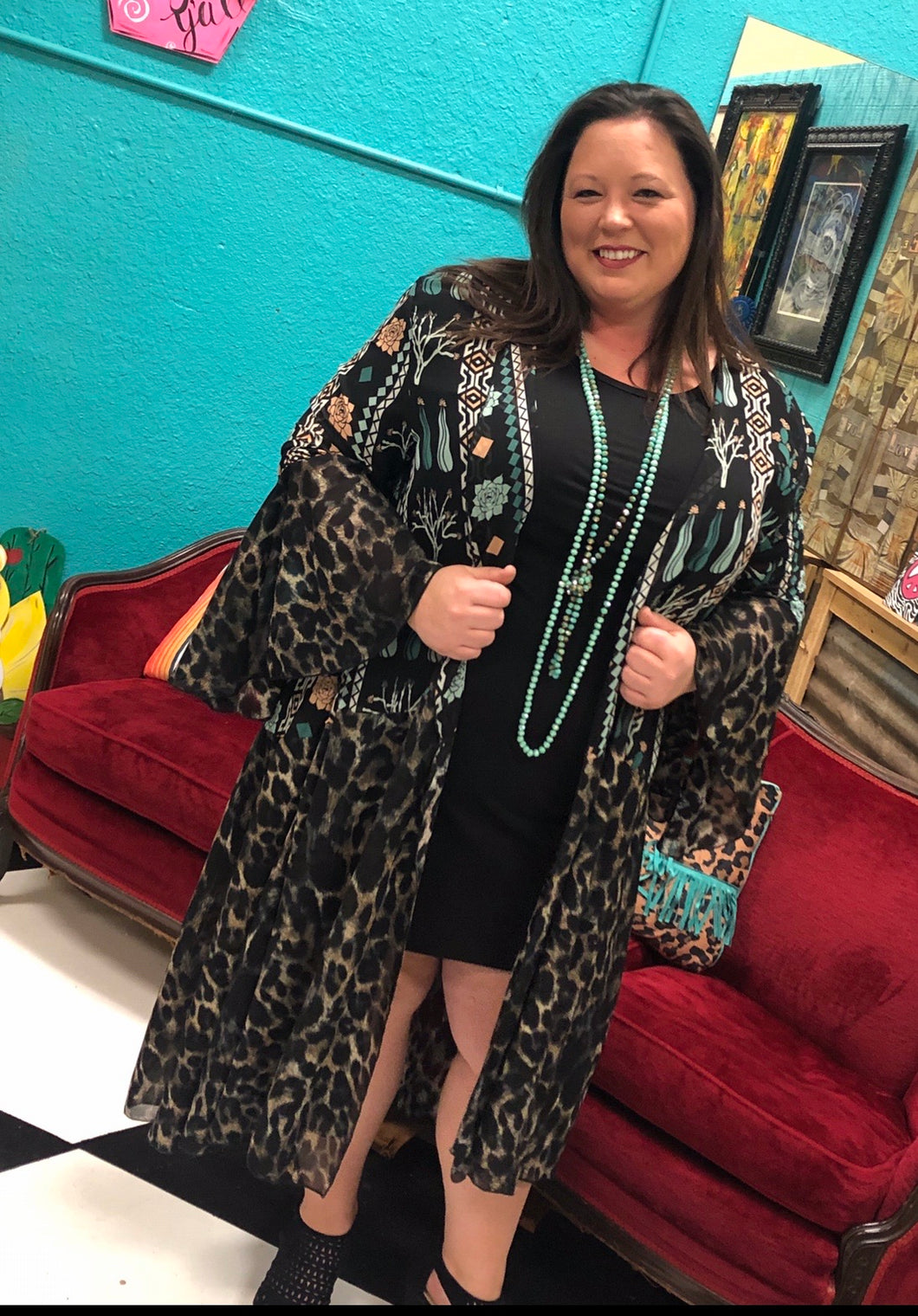 Teal and Cheetah Bell Sleeved Duster