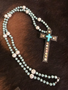 Rhinestone and beaded cross necklace