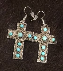 Decorative cross earring