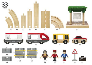Brio Rail & Road Travel Set contents