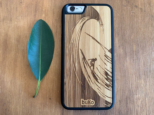 Wooden iPhone 6 and 6 Plus Case with Surfer Engraving