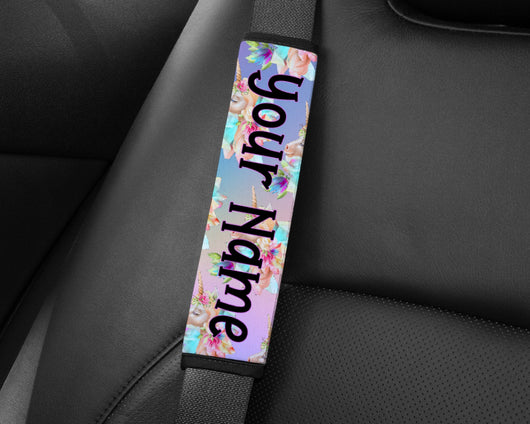 Personalised Unicorn Seat Belt Cover Wrap Shoulder Pad