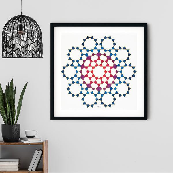 Tenfold from Blue to Red Art Print | Lieve Oudejans