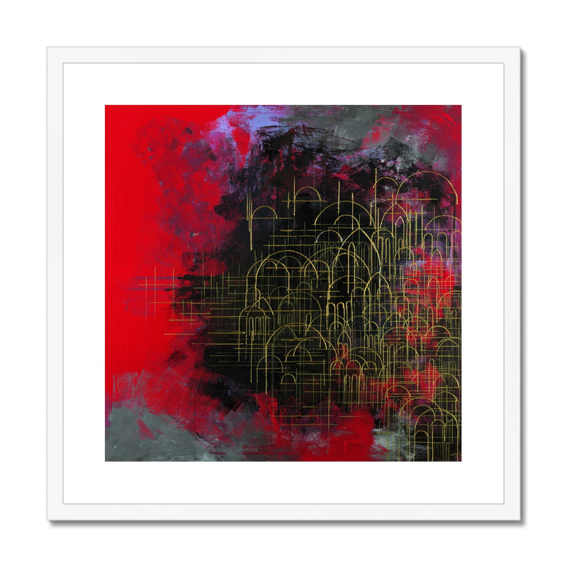 Domes on Red Framed Print | Siddiqa Juma
