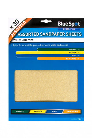 BlueSpot 30 Pce Assorted Sandpaper Sheets