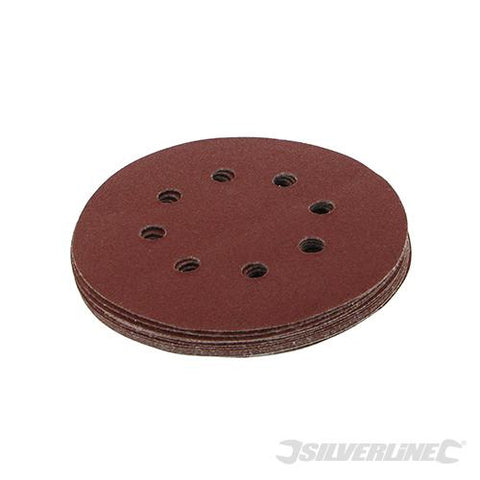 Silverline Hook & Loop Discs Punched 125mm 10pk 80 Grit