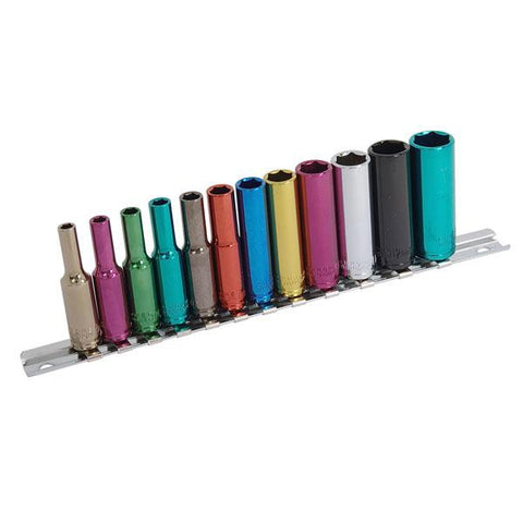 Neilsen CT0906 12 Piece 1/4in. Dr - Multi-coloured Sockets