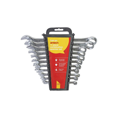 Am Tech 11pc Combination Spanner Set With Rack