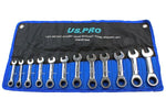 US PRO 12pc Metric 72 Teeth Stubby Ratchet Spanners