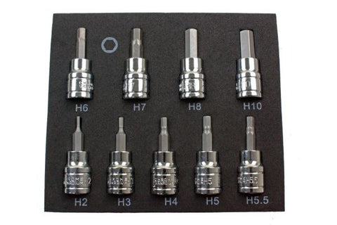 US Pro 9Pc 3/8 Drive 48mm Long S2 Hex Bit Set.