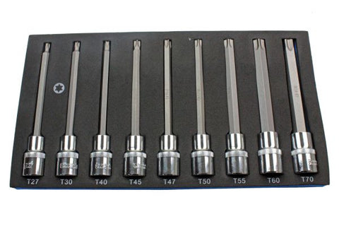 US Pro 9 Pc Extra Long 140mm Torx Star Socket Set